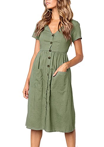 9b5127fd4ec267 Quceyu Sommerkleider Damen Kurzarm V-Ausschnitt Strand Kleider Elegant  Vintage Abendkleid Knielang